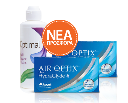 Alcon / Ciba Vision  AIR OPTIX plus HydraGlyde 6pck πακέτο 2κουτιών (12 φακοί) + Δώρο 1 Optimal 360ml