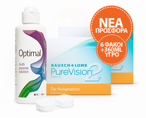 Bausch and Lomb PureVision2 for Αstigmatism πακέτο 2 κουτιών 3pck (6 φακοί) + Optimal 360ml